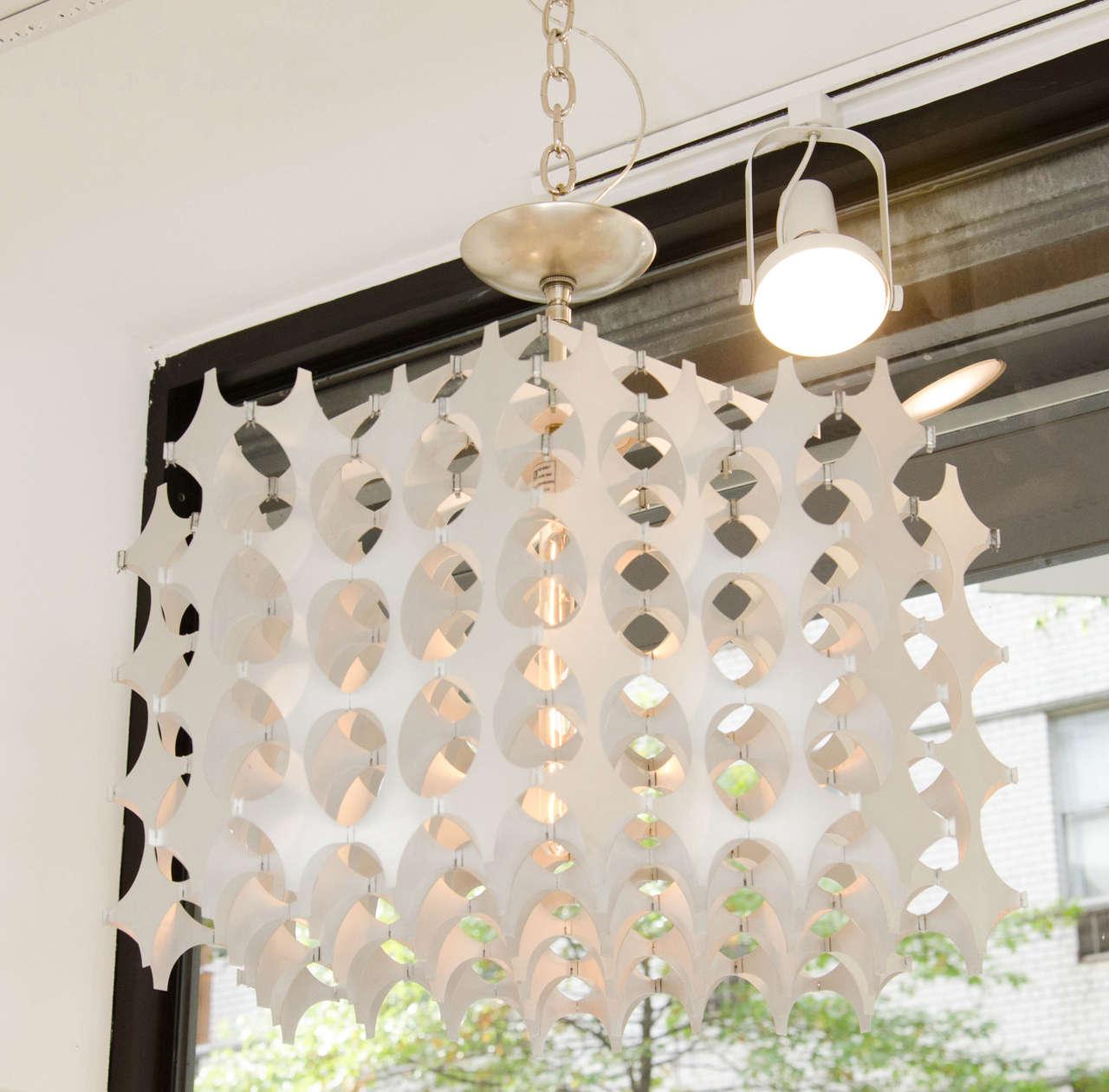 Geometric Pierced Aluminum Pendants by Mario Marenco for Artemide For Sale 1