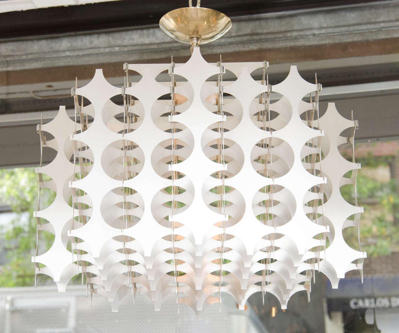 Geometric Pierced Aluminum Pendants by Mario Marenco for Artemide For Sale 3