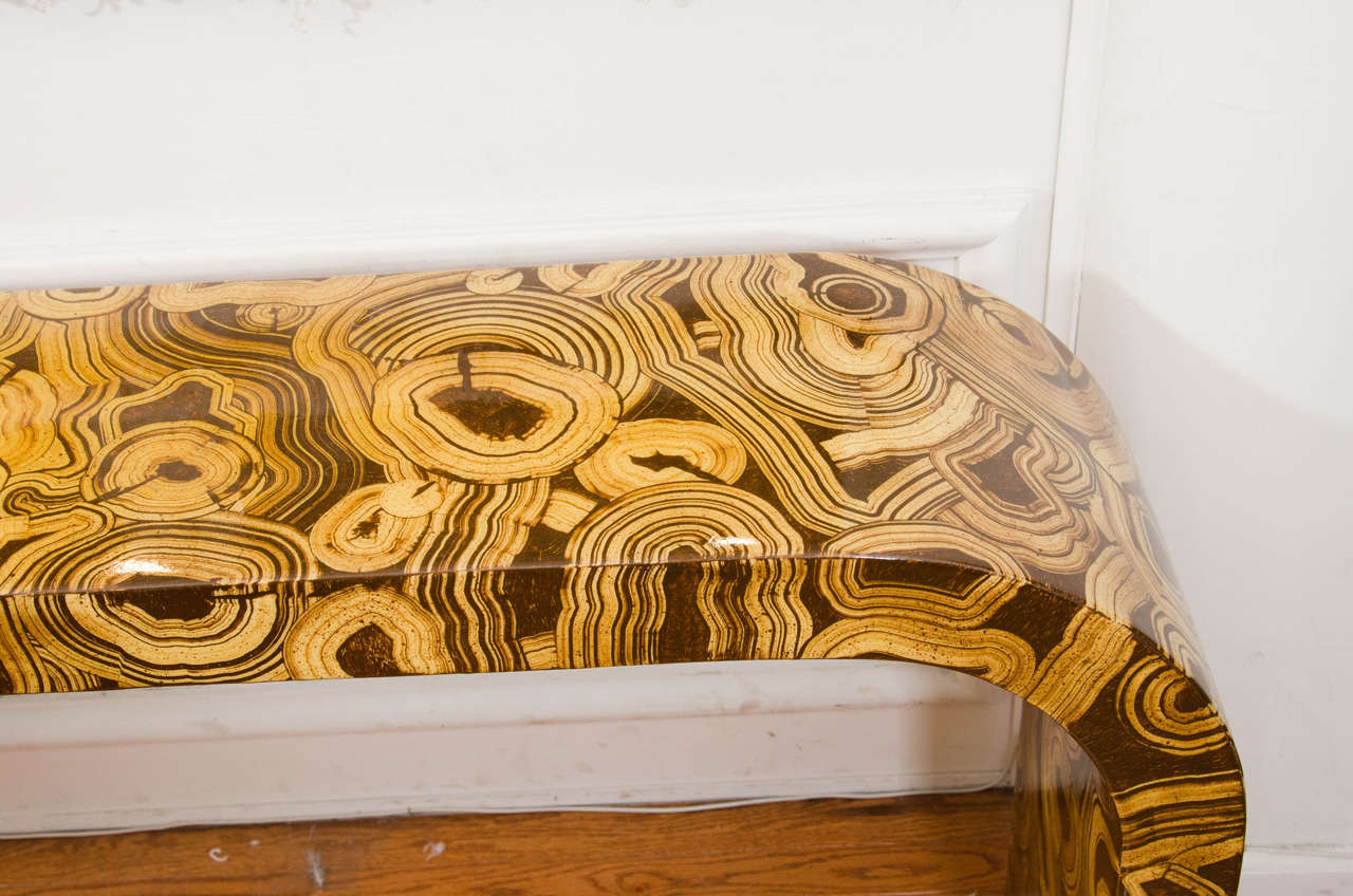 Mid-20th Century Hand-Painted Waterfall Console Table