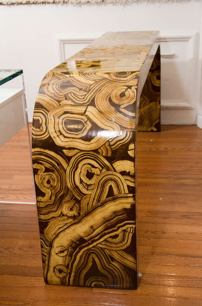 Hand-Painted Waterfall Console Table 1