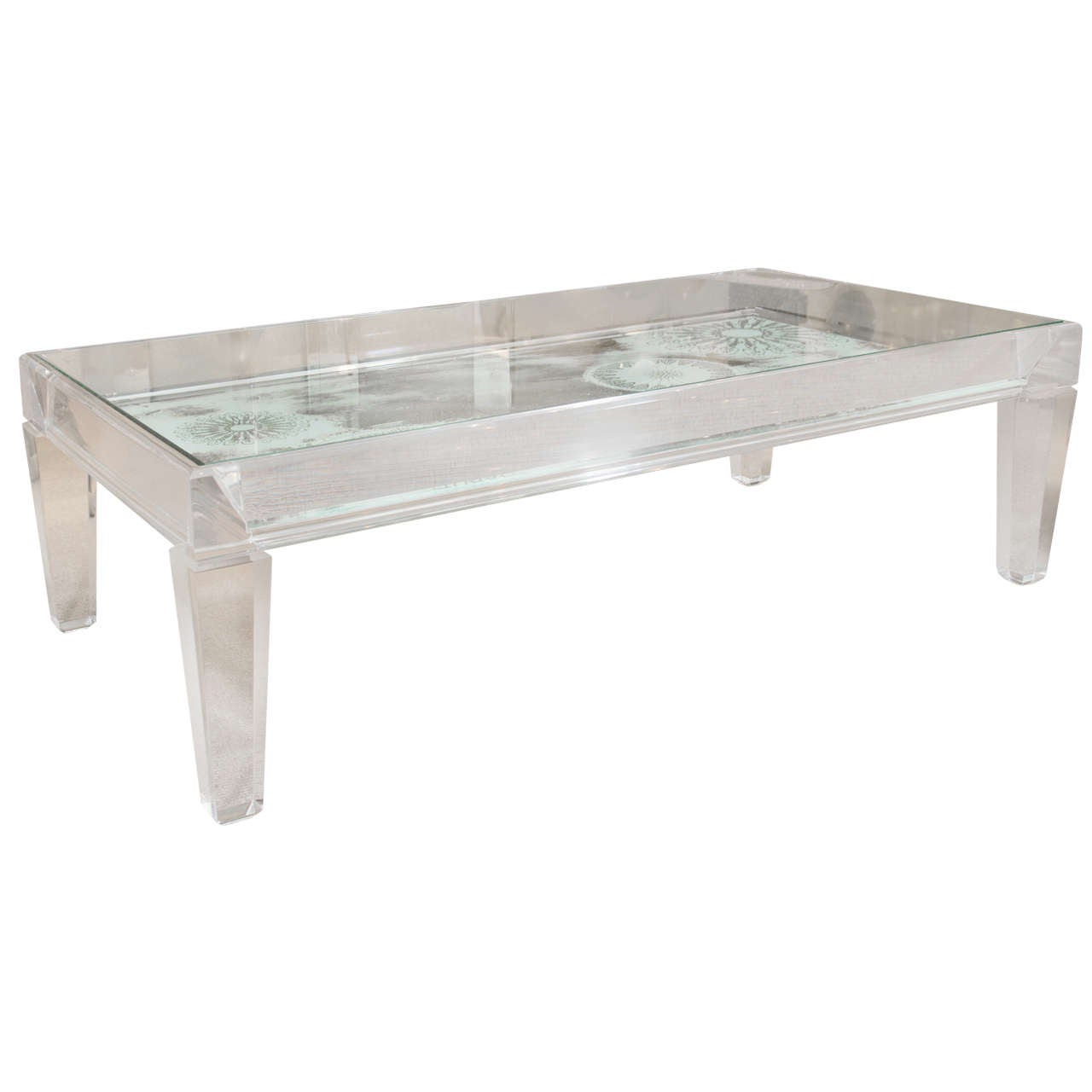 Mid century lucite coffee table for sale at 1stdibs for Acrylic coffee tables for sale
