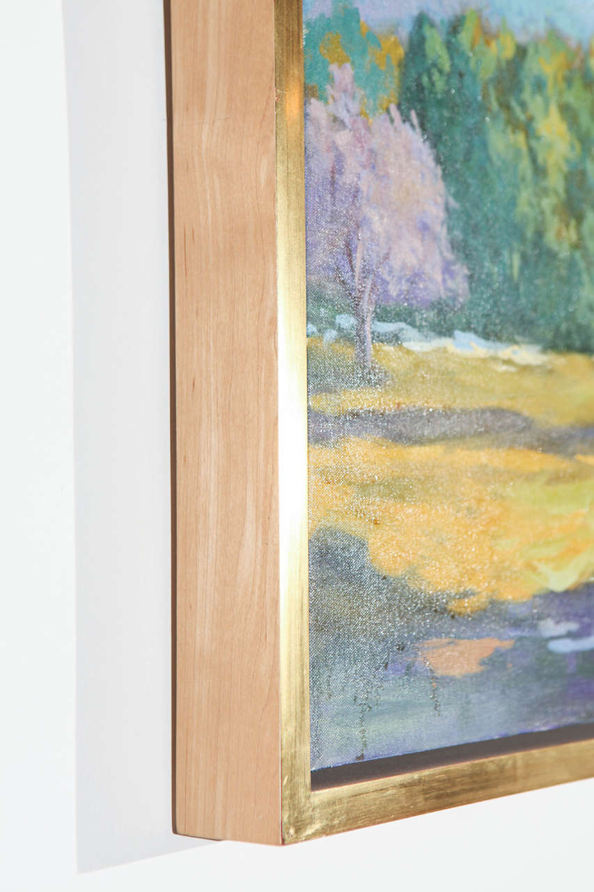 Plein Air California Landscape Painting In Gold Frame At