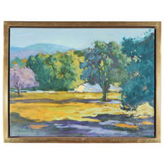Plein Air California Landscape Painting in Gold Frame