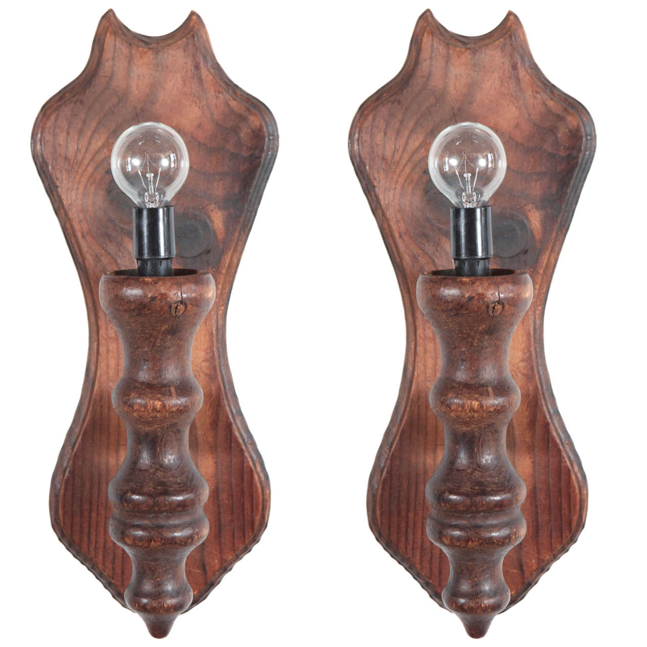 Rustic Wooden Wall Sconces : Rustic Carved Wooden Wall Sconces at 1stdibs