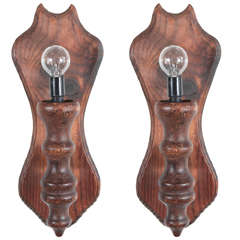 Rustic Carved Wooden Wall Sconces