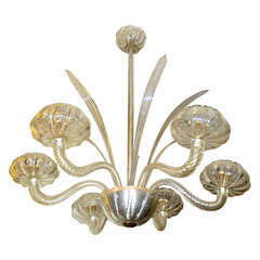 1940s Murano Glass Chandelier by Barovier