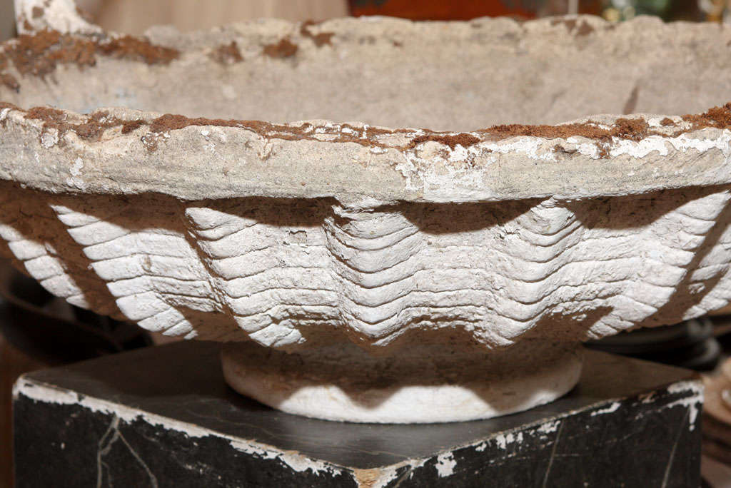 French Cast Stone Basket Jardiniere For Sale