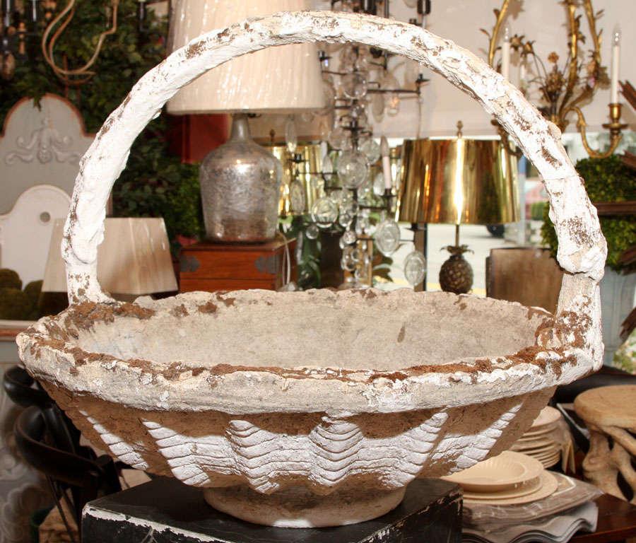 Cast Stone Basket Jardiniere For Sale 1