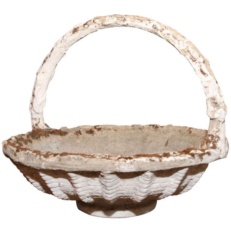 Cast Stone Basket Jardiniere