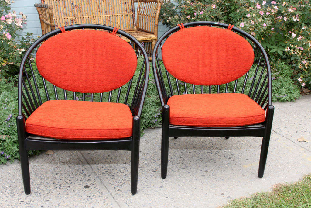 Mid-Century Modern Pair of Mid Century Swedish Bent Beech Wood Hoop Chairs For Sale