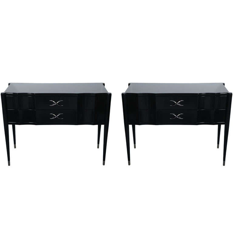Pair of Paul Frankl Ebonised Two-Drawer Commodes Consoles