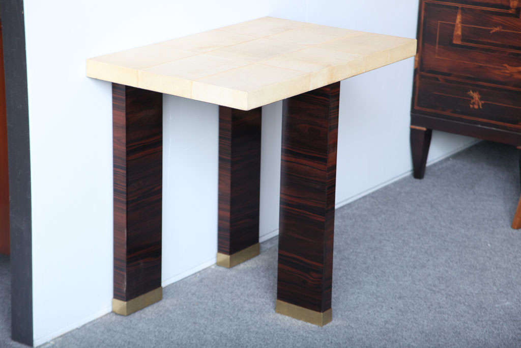 Pair of Italian Modern Parchment and Ebony de Macassar Console In Excellent Condition For Sale In Miami, FL