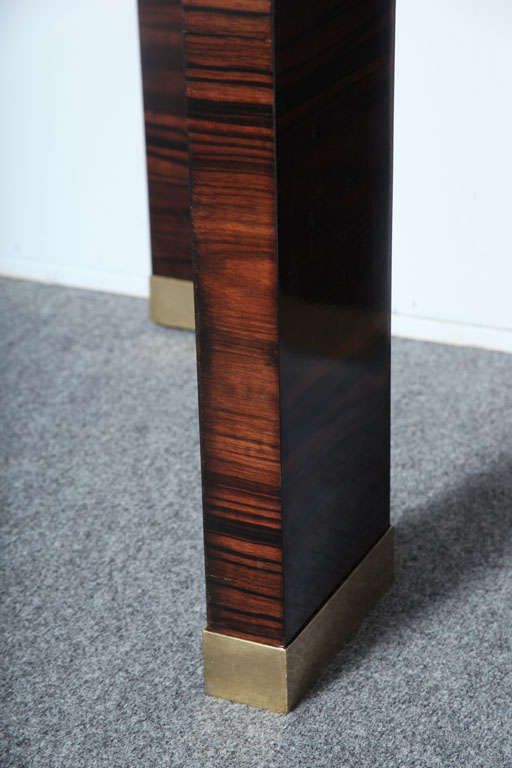 Brass Pair of Italian Modern Parchment and Ebony de Macassar Console For Sale
