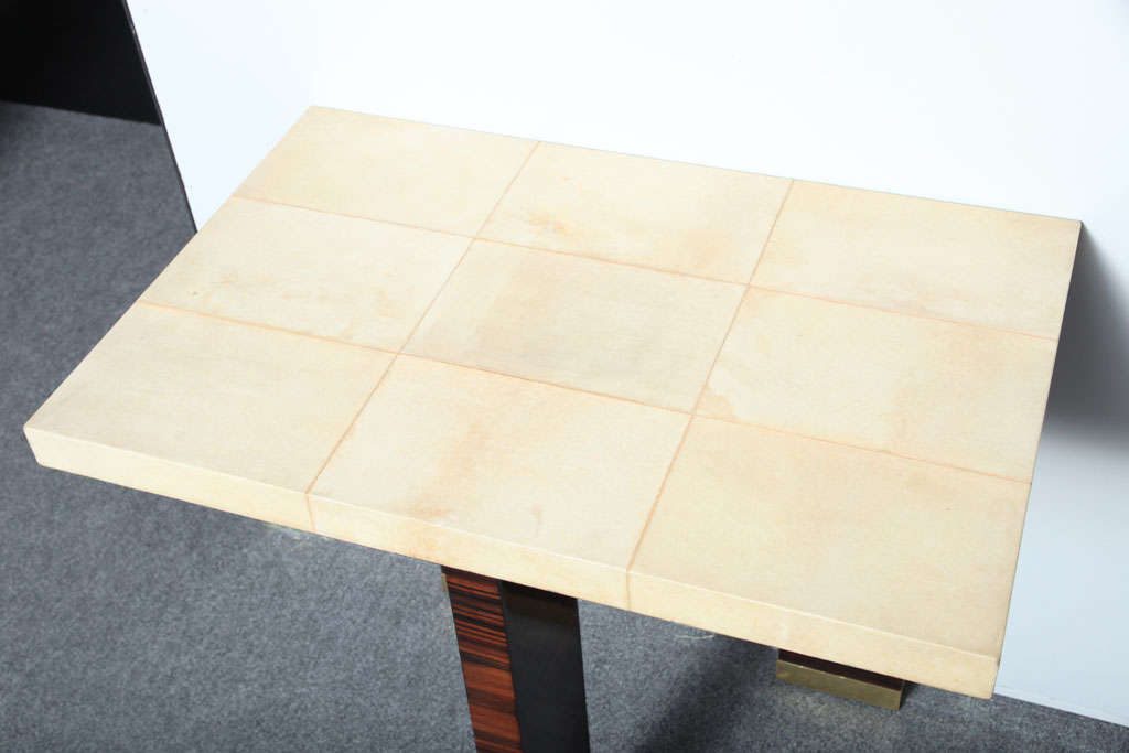 Pair of Italian Modern Parchment and Ebony de Macassar Console For Sale 1