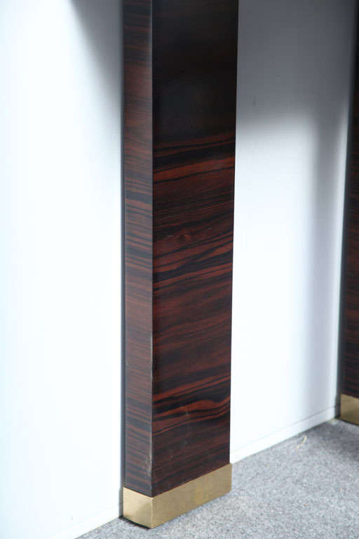 Pair of Italian Modern Parchment and Ebony de Macassar Console For Sale 3