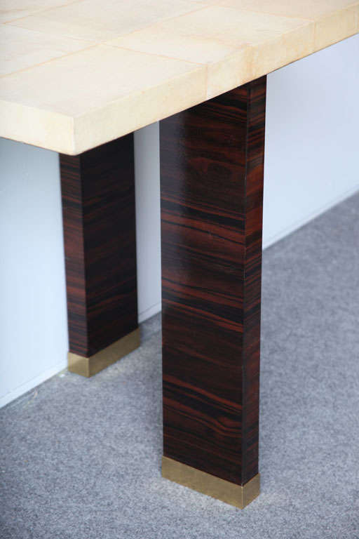 Pair of Italian Modern Parchment and Ebony de Macassar Console For Sale 4