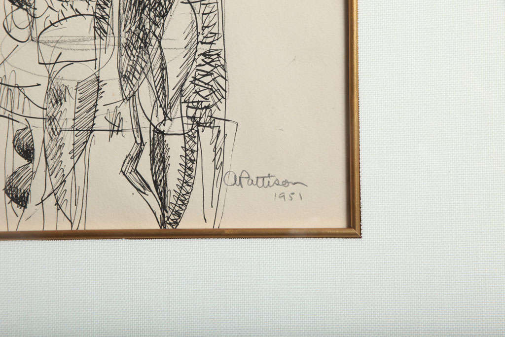 Mid-20th Century Abbott Pattison Ink on Paper For Sale