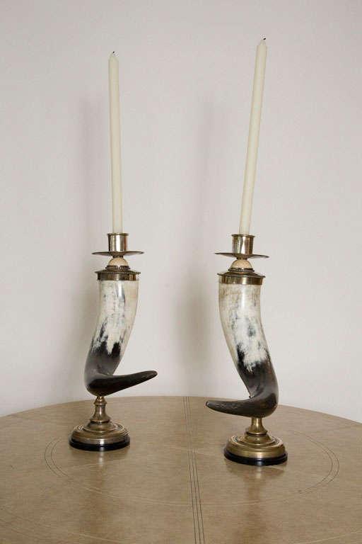 English Pair of Decorative Horn Candlesticks by Anthony Redmile