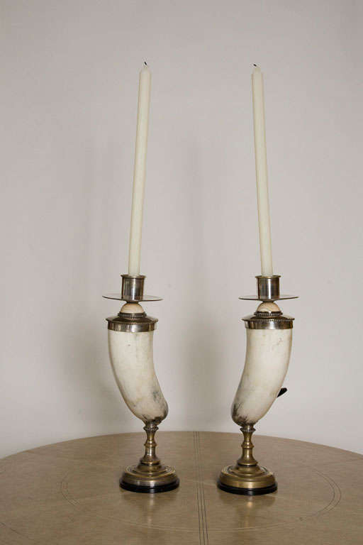 Pair of Decorative Horn Candlesticks by Anthony Redmile 1