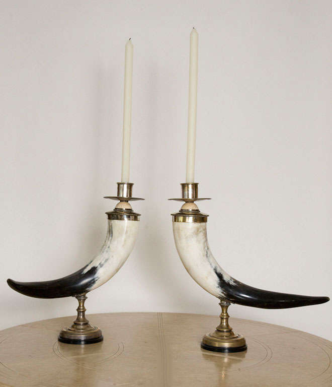 Pair of Decorative Horn Candlesticks by Anthony Redmile 6