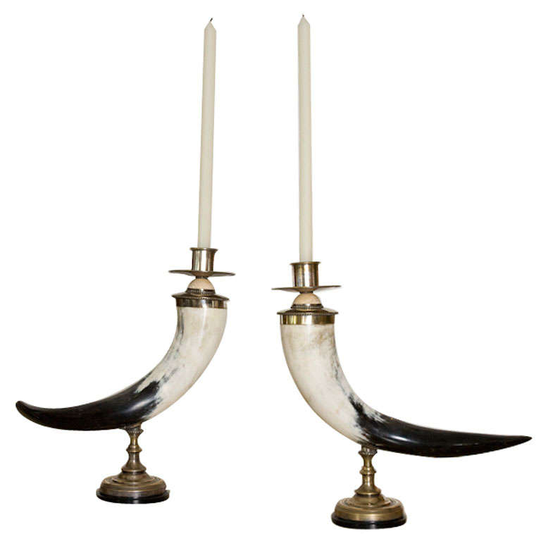 Pair of Decorative Horn Candlesticks by Anthony Redmile