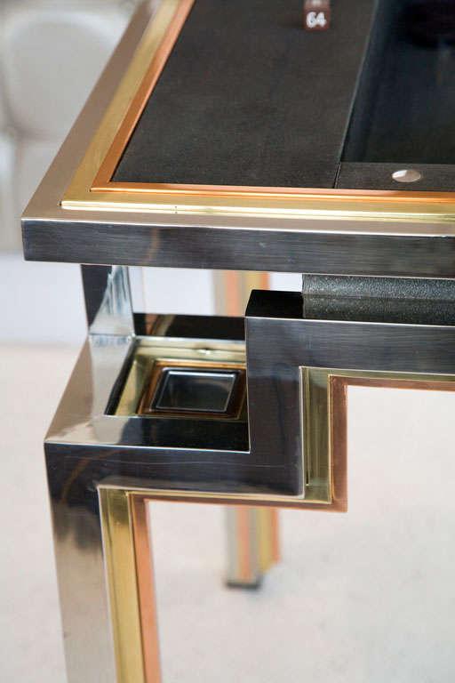 Tri Metal Backgammon Table By Alain Delon For Maison