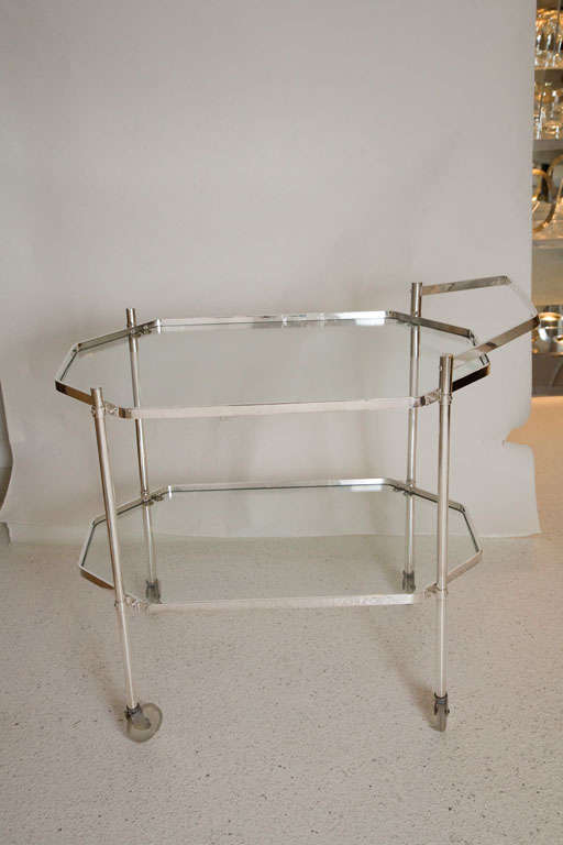 American Silver Plate and Glass Drinks Trolley For Sale