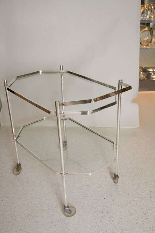 Mid-20th Century Silver Plate and Glass Drinks Trolley For Sale