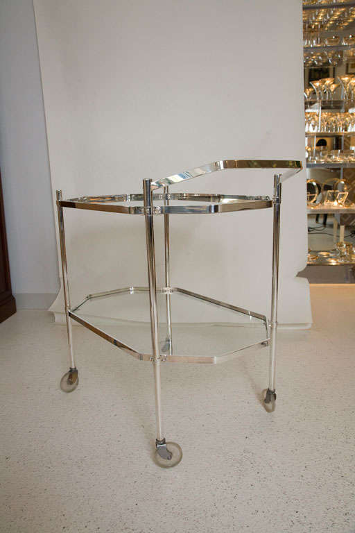 Silver Plate and Glass Drinks Trolley For Sale 1