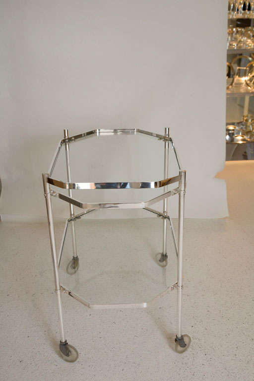 Silver Plate and Glass Drinks Trolley For Sale 2