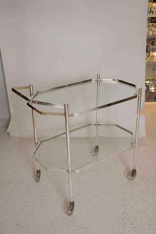 Silver Plate and Glass Drinks Trolley For Sale 4