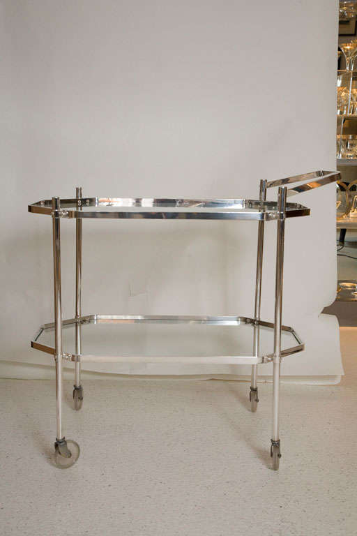 Silver Plate and Glass Drinks Trolley For Sale 6