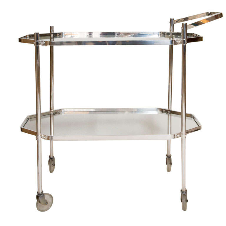 Silver Plate and Glass Drinks Trolley For Sale