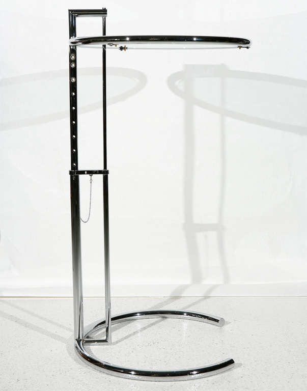 chrome and glass occasional table by eileen gray at 1stdibs. Black Bedroom Furniture Sets. Home Design Ideas