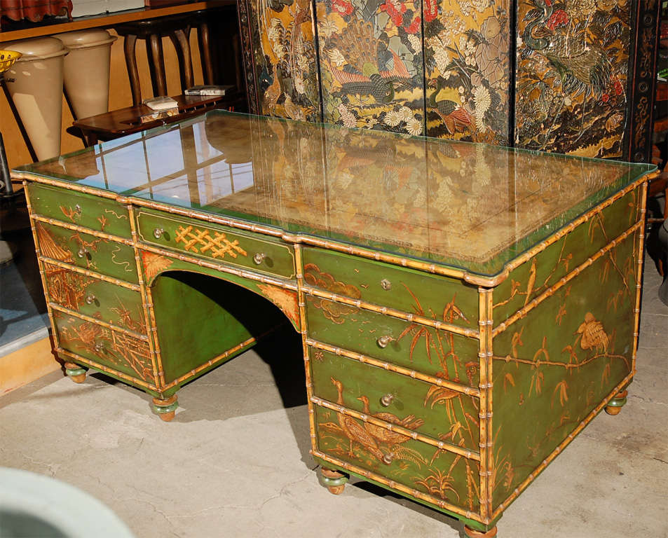 Freddie Fields English Lacquered faux bamboo Chinoiserie large desk