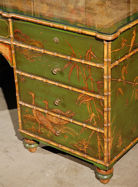British Freddie Fields Chinoiserie Desk For Sale