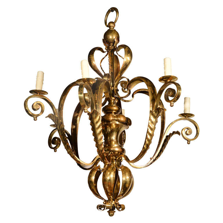 French Brass Chandelier, 1940s