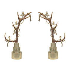 Pair of Antler Candelabra by Anthony Redmile