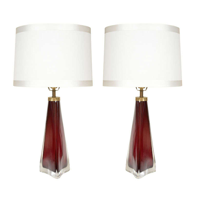 Pair of Large Claret Triangular Glass Lamps by Carl Fagerlund For Sale