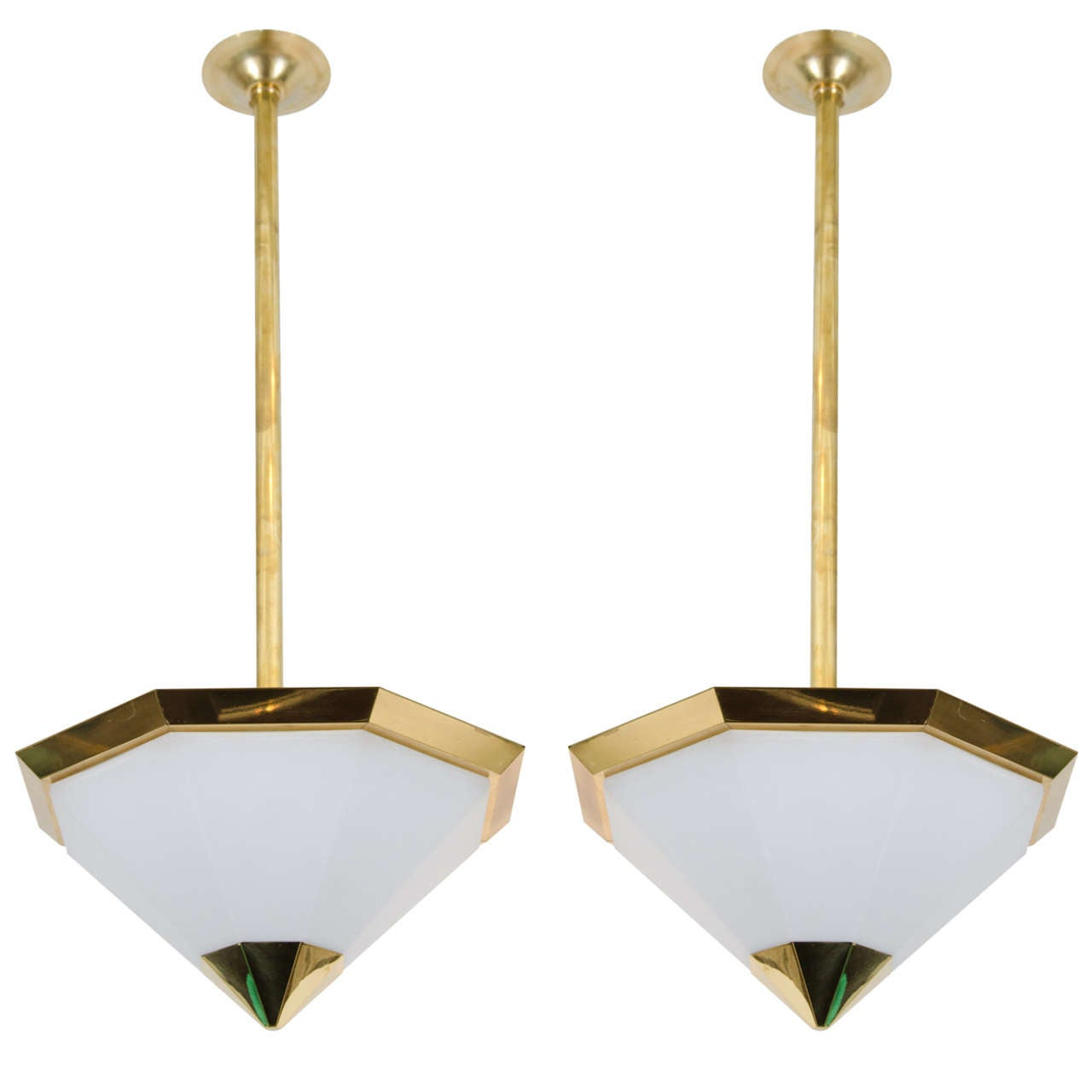 Brass And Frosted Glass Pendant Light Fixtures At 1stdibs