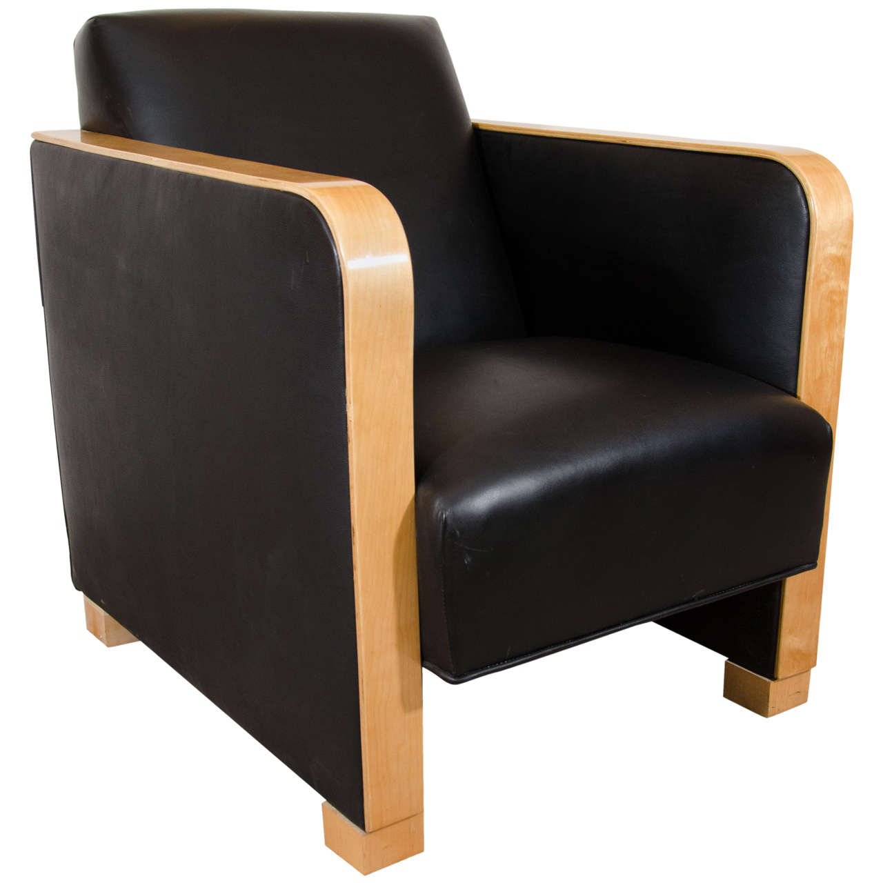 Art Deco Club Chair in Black Motorcycle Leather