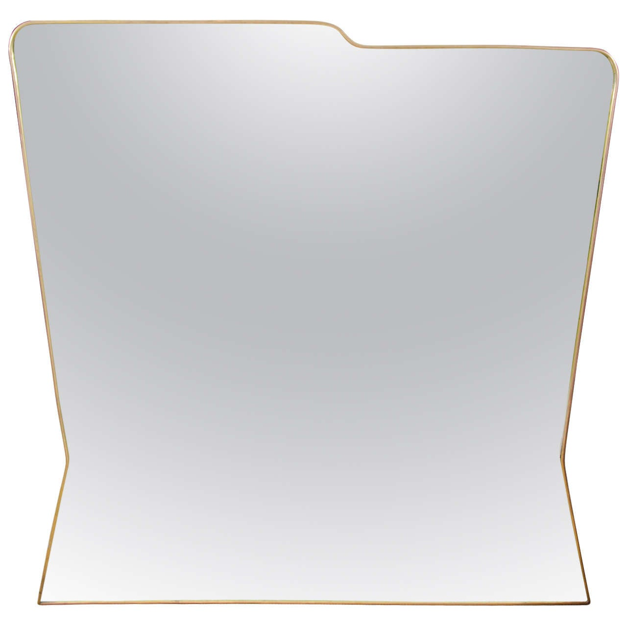 Made to Order Italian Modernist Style Brass Framed Mirror 1
