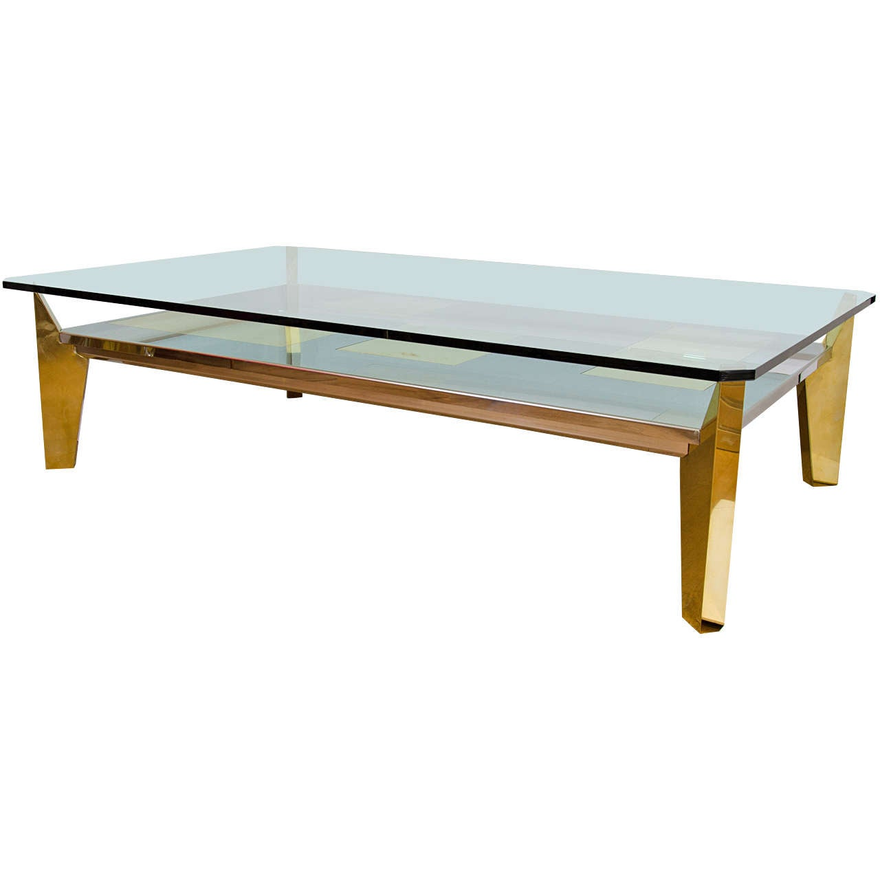 Monumental Stainless Steel And Brass Coffee Table For Sale At 1stdibs