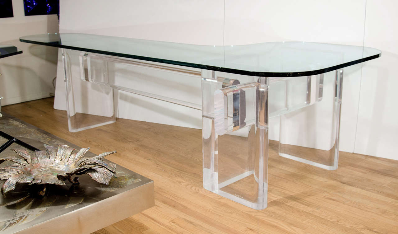 """Custom Made """"l"""" Shaped Lucite And Glass Desk By Karl Springer 2"""