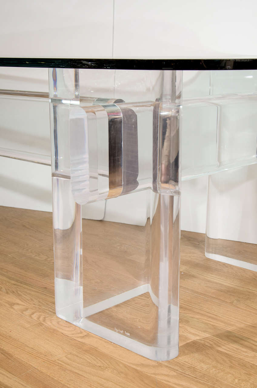 """Custom Made """"l"""" Shaped Lucite And Glass Desk By Karl Springer 4"""