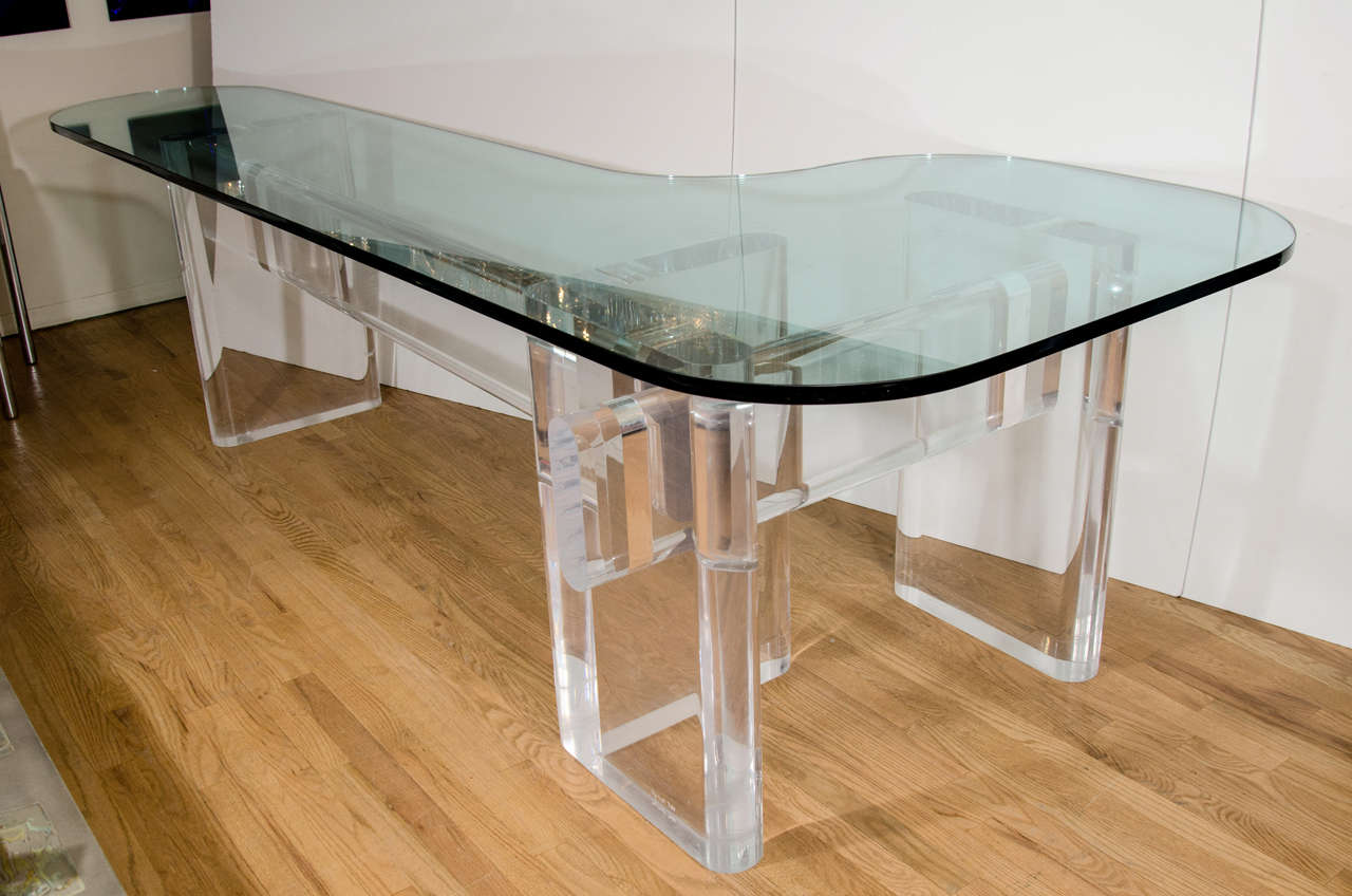 """Custom Made """"l"""" Shaped Lucite And Glass Desk By Karl Springer 5"""