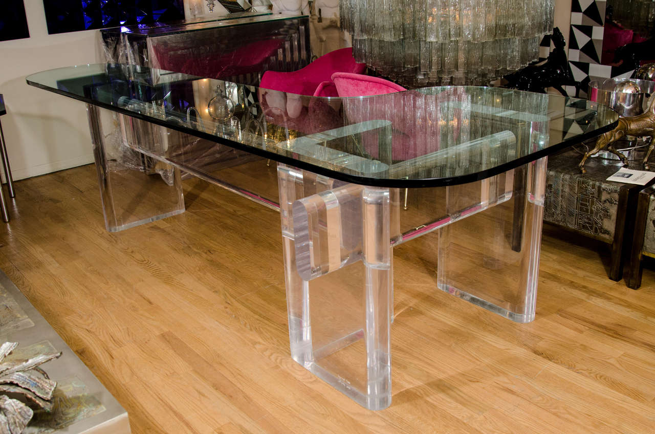 """Custom Made """"l"""" Shaped Lucite And Glass Desk By Karl Springer 6"""