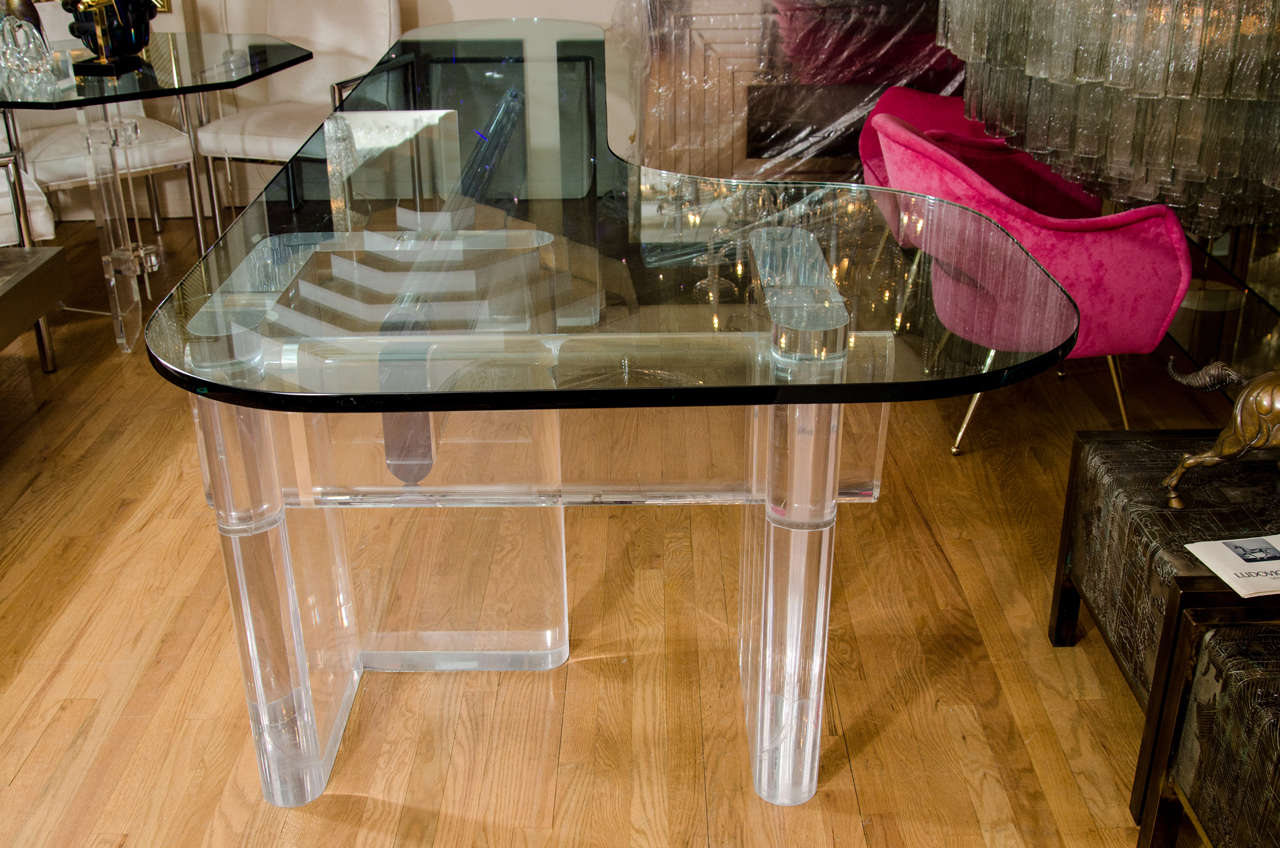 """Custom Made """"l"""" Shaped Lucite And Glass Desk By Karl Springer 7"""