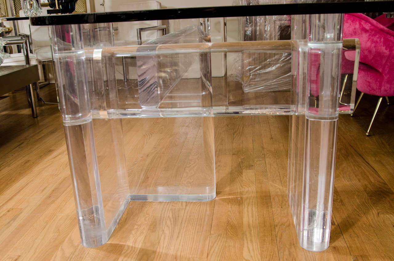 """Custom Made """"l"""" Shaped Lucite And Glass Desk By Karl Springer 8"""