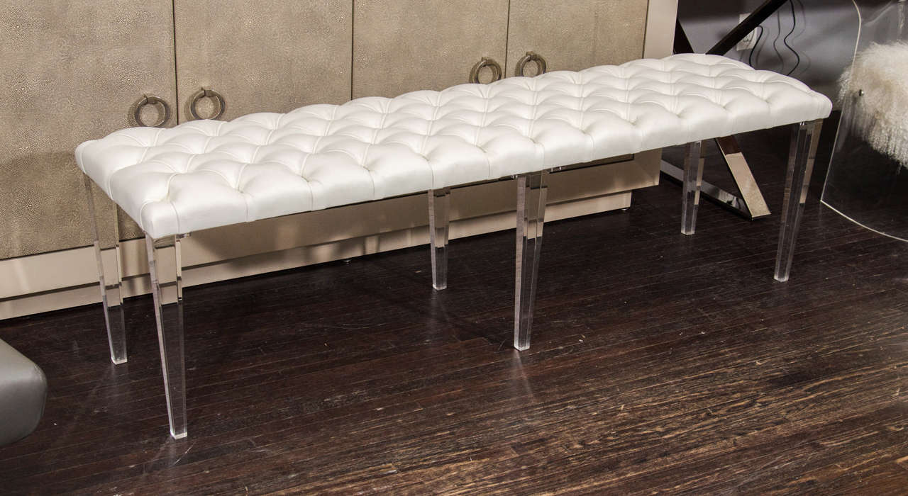 custom tufted leather with lucite leg bench for sale at stdibs - custom tufted leather with lucite leg bench
